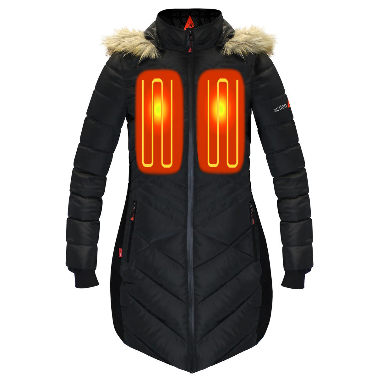 moderate price offer arriving ActionHeat 5V Heated Long Puffer Jacket W/ Hood - Womens