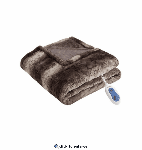 Beautyrest 100% Polyester Faux Tip Dye Long Fur Heated Throw - 50