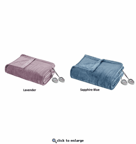 Beautyrest 100% Polyester Knitted Solid Microlight to Solid Microlight Heated Blanket - Queen