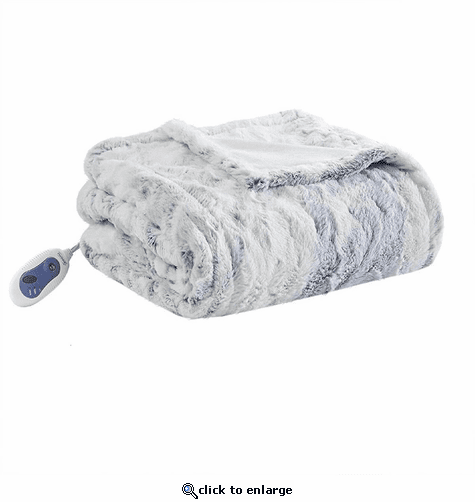 Beautyrest 100% Polyester Marble Faux Fur Heated Throw - 50