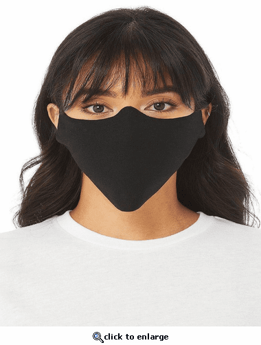 Bella + Canvas Lightweight Fabric Face Cover with 100% Airlume Cotton - Black