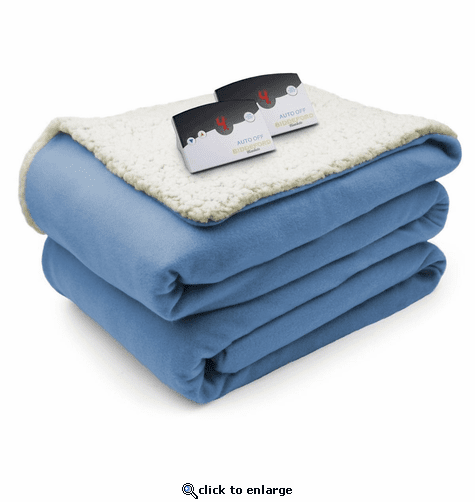 Biddeford Blankets Comfort Knit/Sherpa Electric Heated Blanket with Digital Controller - Queen