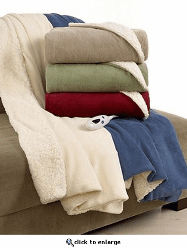 Biddeford Blankets Electric Fleece Heated Sherpa Throw with Digital Controller - Sage