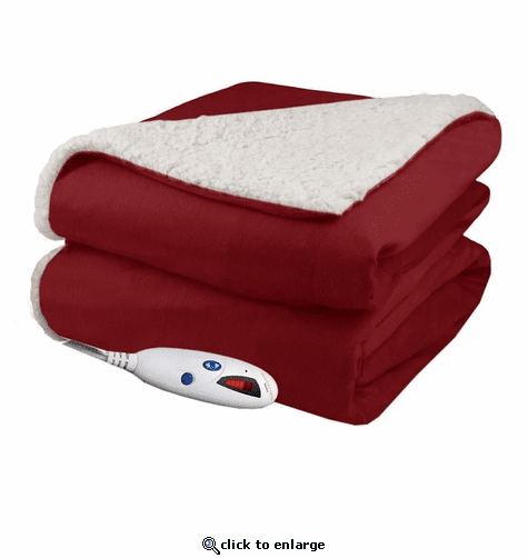Biddeford Blankets Fleece Electric Heated Sherpa Throw with Digital Controller - Brick