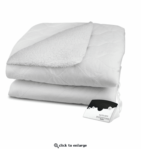 Biddeford Blankets Sherpa Quilted Electric Heated Mattress Pad with Digital Controller - King