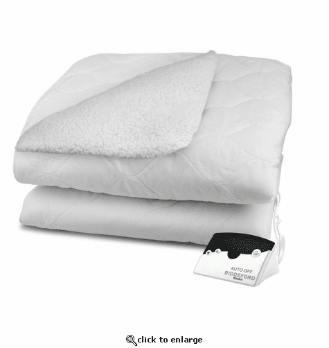 Biddeford Blankets Sherpa Quilted Electric Heated Mattress Pad with Digital Controller - Queen