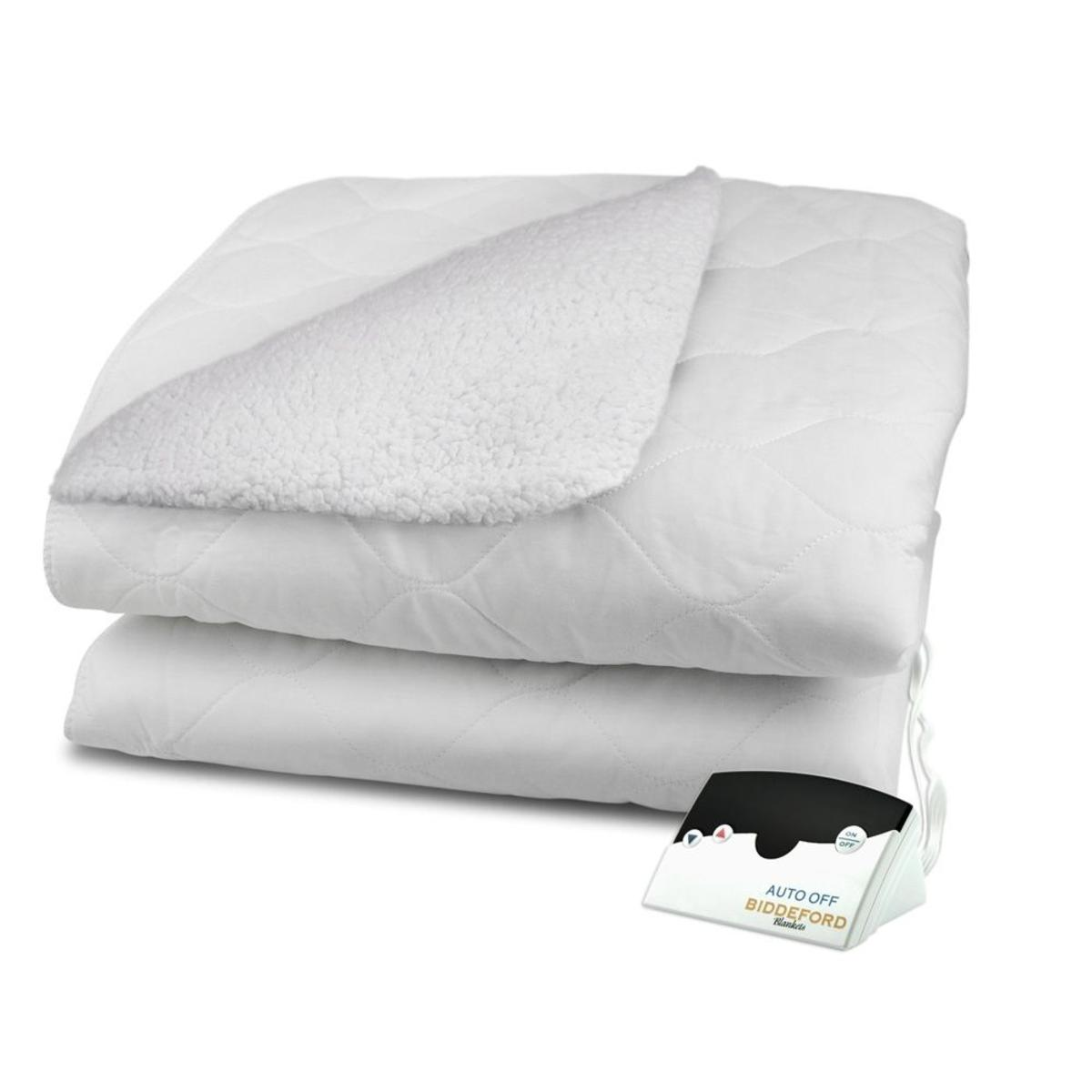 Biddeford Blankets Sherpa Quilted Electric Heated Mattress Pad With Digital Controller Twin The Warming Store