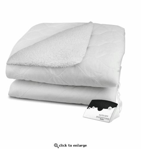 Biddeford Blankets Sherpa Quilted Electric Heated Mattress Pad with Digital Controller - Twin