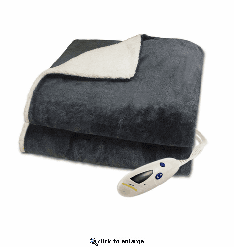 Biddeford Blankets Velour 2-Tone/Sherpa Electric Heated Throw with Digital Controller