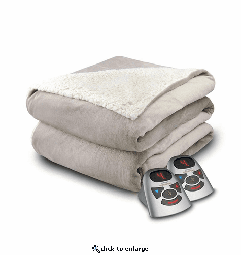 Biddeford Blankets Velour/Sherpa Heated Blanket with Digital Controller - Queen