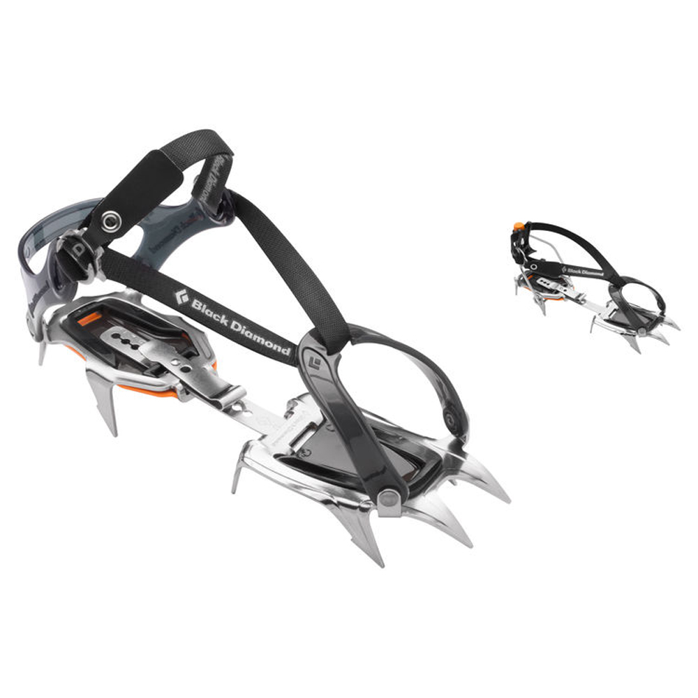 A classic 10-point crampon for mountaineering and glacier travel, the Contact features a durable stainless steel construction and a stable, lightweight design. Available in a Strap or Clip version. Designed for ice and snow travel, the lightweight Black Diamond Contact crampon is ideal for mountaineers, skiers and hikers. Its stainless steel construction won't rust and avoids environmentally toxic coatings that wear off in the mountains. The compact, 10-point design offers easy walking, while the fast-adjust attachment system accommodates almost any footwear. ABS plates included.  Distinctive stainless steel construction doesn't rust, is more durable, resists snow balling and saves weight New lower-profile fit for better contact with modern boots Flexible toe strap fits most footwear Compact and easy to use Includes dual-density ABS  Tech Specifications:  Weight Per Pair : [Strap] 808 g (1 lb 13 oz) Size : One size fits 36-46. 46+ will require our long center bar Materials : Stainless