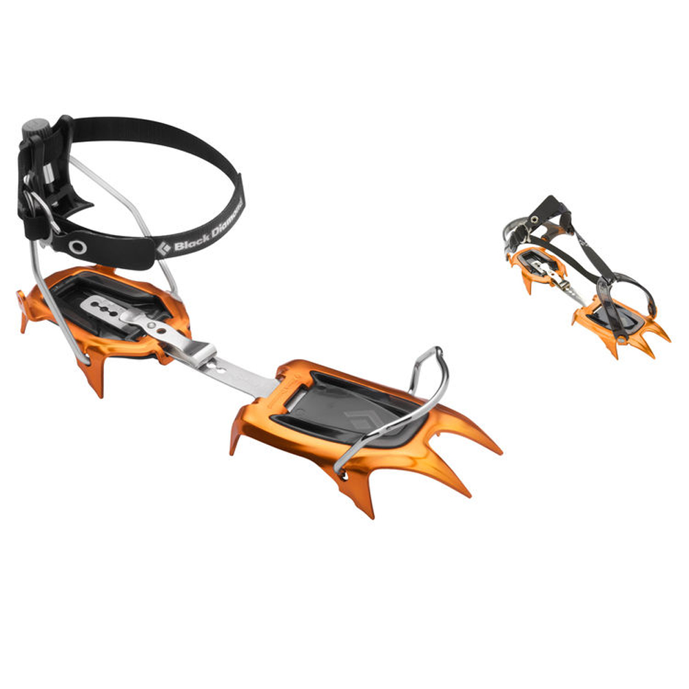 A 10-point aluminum crampon for snow climbing and ski mountaineering, the Neve is the go-to choice for lightweight performance. Designed for moderate snow climbing while approaching alpine rock routes or ski mountaineering objectives, the Black Diamond Neve crampon features a 10-point aluminum design for lightweight functionality. Two different attachment configurations accommodate both technical and non-technical footwear, while the aggressive yet flexible construction keeps you moving quickly and confidently on steep, snowy terrain.  Lightweight, aluminum crampons with spring steel center bar New highly formed front and rear rails The Pro version features steel wire bails in the front and aluminum in the rear for telemark, ice and randonnee boots The Strap version features a new softer strap that better accommodates trekking and trail running footwear Includes dual-density ABS  Tech Specifications:  Weight Per Pair : [Strap] 576 g (1 lb 4 oz) Size : One size fits 36-46. 46+ will req