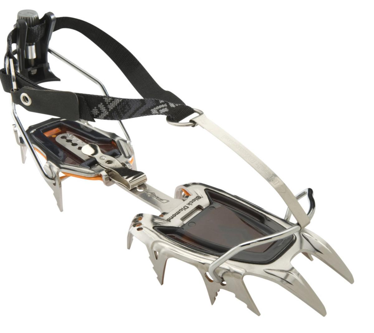 Our best all-around crampon, the Sabretooth features a super-stable yet technical design with a redesigned stainless steel construction that's optimized for added durability.        DESCRIPTION From moderate local ice flows to classic mountaineering routes and technical alpine faces, the Black Diamond Sabretooth Crampon is our best all-around crampon for the spectrum of frozen objectives. The Sabretooth's redesigned stainless steel construction incorporates a strong, yet light design with durable horizontal front points and increased rocker in the front rail to accommodate modern mountain boots. The dual secondary points are optimized for technical precision, while still maintaining a balanced, stable platform on descents and lower angle terrain.  Redesigned stainless steel construction is durable, resists snowballing and won't rust > Versatile horizontal frontpoints and technical secondary points Low-profile micro-adjust heel bail offers precision fit P