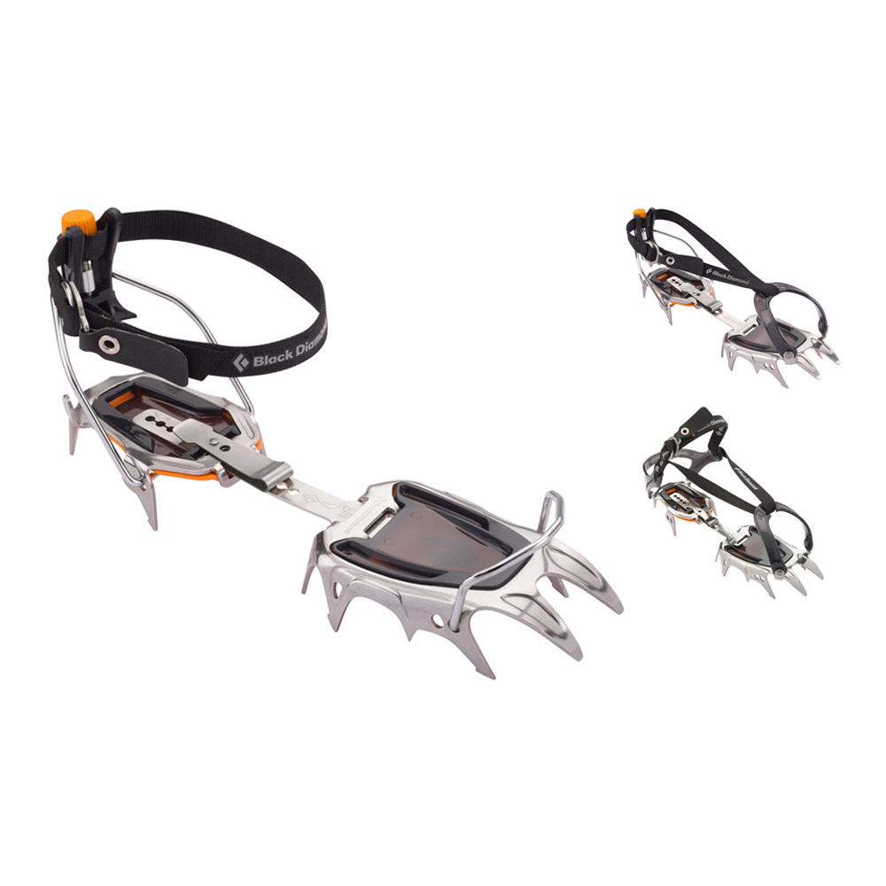 Stable, durable and reliable on snow and glacier travel, the Serac is a classic 12-point crampon with a redesigned stainless steel construction. Built for the variable, moderate terrain of classic mountaineering routes in places like the Tetons, the Alps and the Cascades, the Black Diamond Serac Crampon is a lightweight, 12-point crampon available in three different configurations to be compatible with any kind of mountain boot. The Serac's redesigned stainless steel construction incorporates a strong, yet light design with rocker in the front rail to accommodate modern mountain boots. Horizontal frontpoints provide secure bite in icy steps, while the classic secondary points and substantial rear points offer stability on descents and low-angle terrain.  Redesigned stainless steel construction is durable, resists snowballing and won't rust Versatile horizontal frontpoints with classic secondary points and stable rear points Low-profile micro-adjust heel bail offers precision fit Pro v
