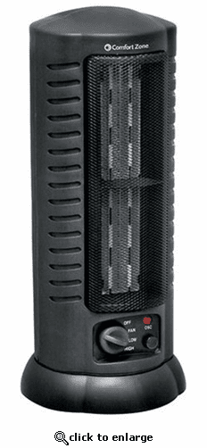 Comfort Zone CZ488 Ceramic Electric Tower Fan-Forced Heater - Black