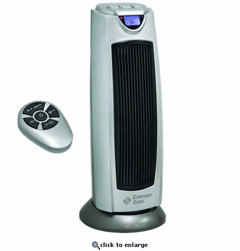 Comfort Zone CZ499R Ceramic Electric Tower Fan-Forced Heater