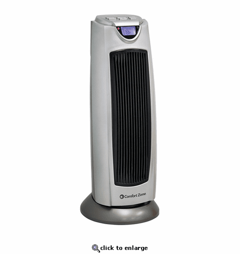Comfort Zone CZ499R Ceramic Electric Tower Fan-Forced Heater - Silver