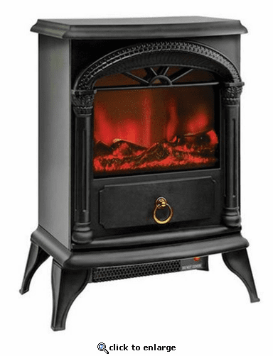 Comfort Zone CZFP4 Ceramic Electric Fireplace Stove Fan-Forced Heater - Black