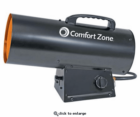 Comfort Zone CZPP300 Radiant Propane Portable Forced Air Heater - Black