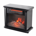 Comfort Zone Mini Electric Fireplace Heater with Simulated Flame - Black