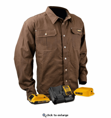 DeWalt 20V MAX Lithium Ion Heavy Duty Shirt Jacket with Battery Kit