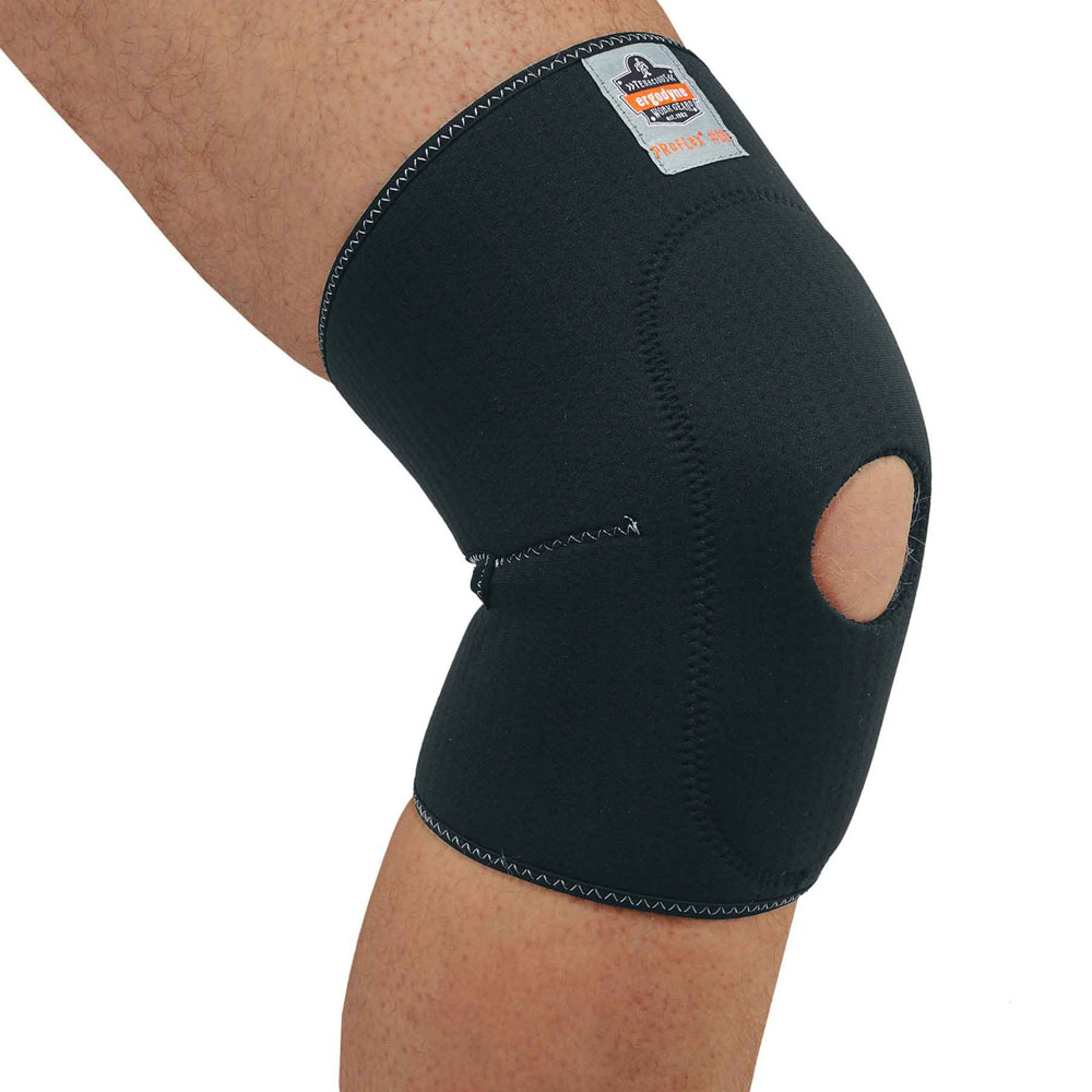 Knee Sleeve with Sleeve Open Patella/Anterior Pad: Contoured pre-curve design conforms to the body's natural shape. Perforated neoprene body for enhanced breathability. Features:  Perforated neoprene Binding and pre-curve design Spandex mesh behind the knee Double neoprene anterior pad Open patella  Application:  Construction Food Processing Warehousing/Distribution Assembly/Fabrication Maintenance Landscaping/Grounds  Performance & Tech Tags:  Machine Washable