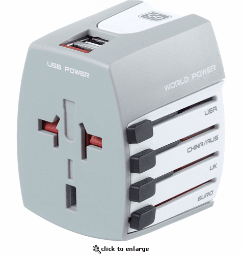 Go Travel Worldwide Travel Adapter with Twin USB Charger