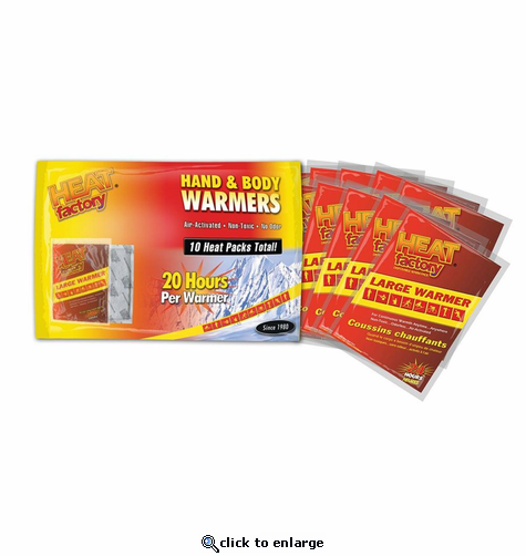Heat Factory Hand & Body Warmer Big Pack (10 Units) - Heated Seat Cushion Replacement Warmers