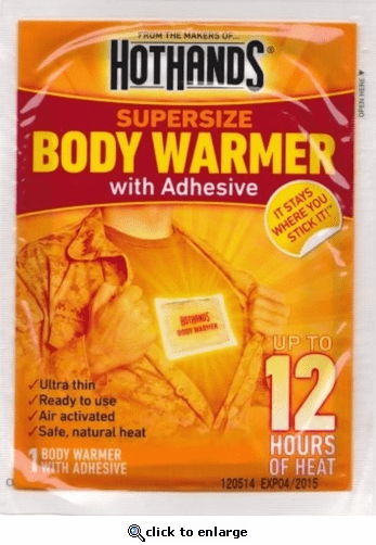 Hothands 12 Hour Supersize Body Warmer with Adhesive - 40 Pack Case