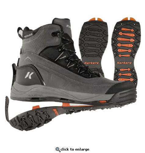 Korkers Men's Verglas Ridge with SnowTrac & IceTrac Soles Boots - Grey