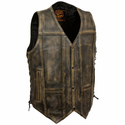 Milwaukee Leather Men's Brown Distressed 10 Pocket Vest