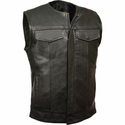 Milwaukee Leather Men's Collarless Snap/Zip Front Club Vest