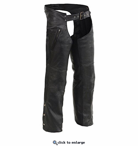 Milwaukee Leather Men's Leather Chaps with Zippered Thigh Pockets & Heated Technology