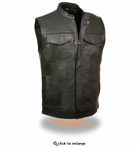 Milwaukee Leather Men's Open Neck Snap/Zip Front Club Style Vest