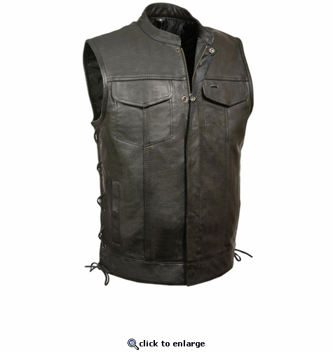 Milwaukee Leather Men's Side Lace Snap/Zip Front Club Vest