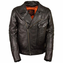 Milwaukee Leather Men's Side Set Belt Utility Pocket Motorcycle Jacket
