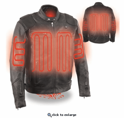 Milwaukee Leather Men's Vented Scooter Jacket with Heated Technology - 12V Motorcycle