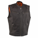 Milwaukee Leather Men's Zipper Front Leather Vest with Cool Technology