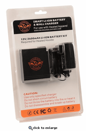 Milwaukee Leather Universal Battery Pack and Wall Charger for Heated Jackets & Vests