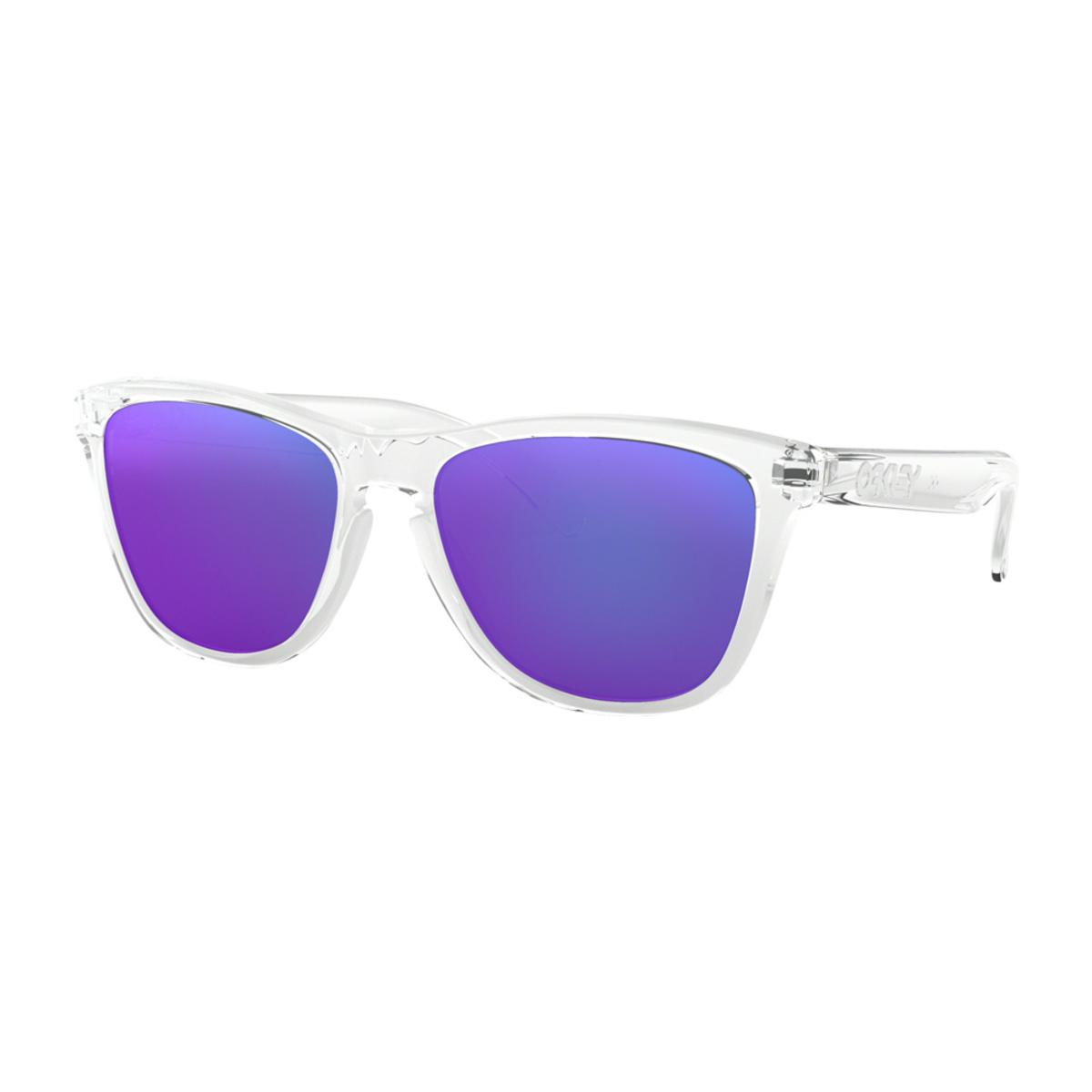 bd5ca48fd10 Oakley Frogskins Polished Clear Sunglasses w Violet Iridium - The Warming  Store