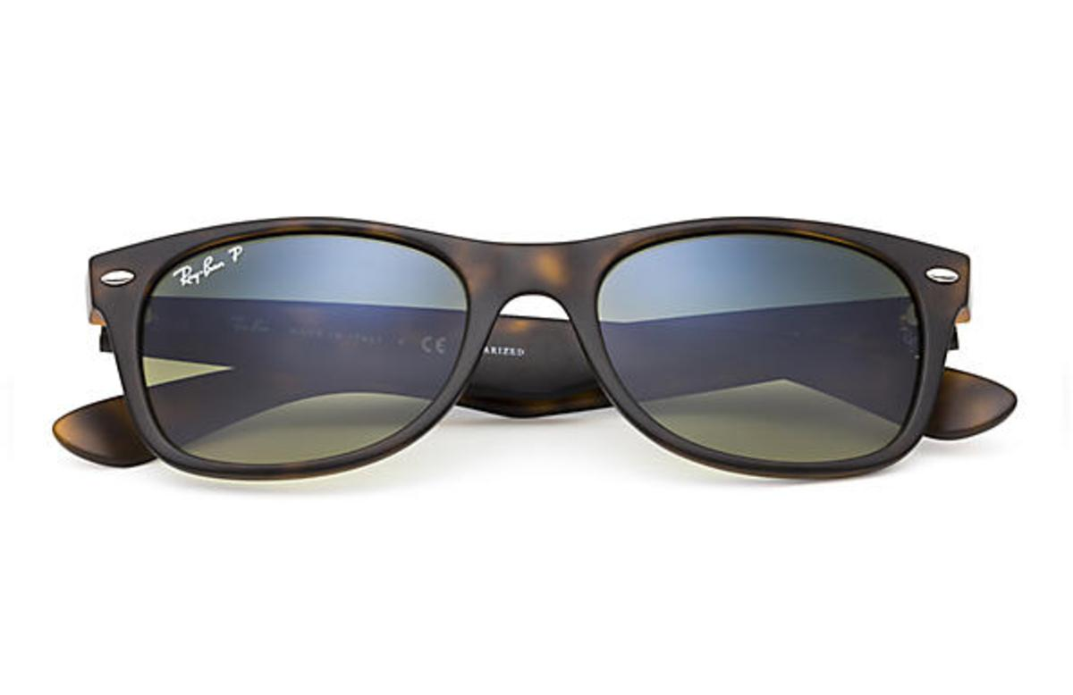 f242bb0350629 Ray-Ban New Wayfarer Classic Sunglasses with Tortoise Frame Polarized Blue  Green Gradient Lens - The Warming Store