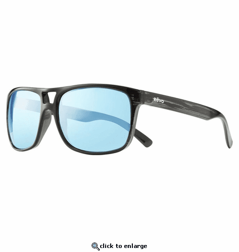 Revo Men's Holsby Modified Wayfarer Sunglasses Blue Water Lens with Black Woodgrain Frame