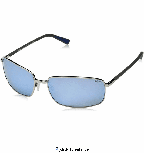 Revo Men's Tate Soft Rectangle Sunglasses Blue Water Lens with Chrome Frame