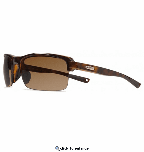 Revo Unisex Crux N Rectangle Sunglasses Terra Lens with Tortoise Frame