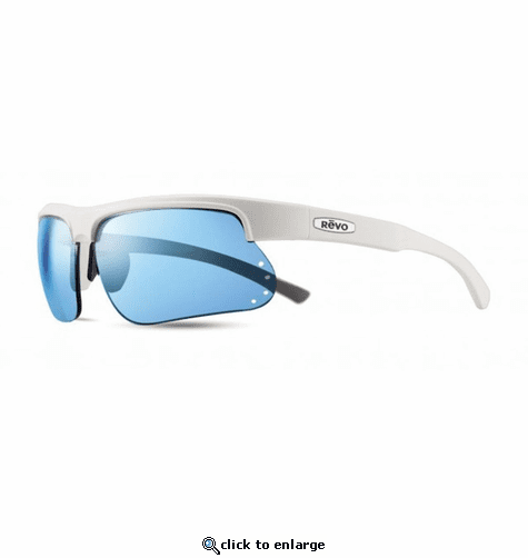 Revo Unisex Cusp S Wraparound Sunglasses Blue Water Lens with White Frame