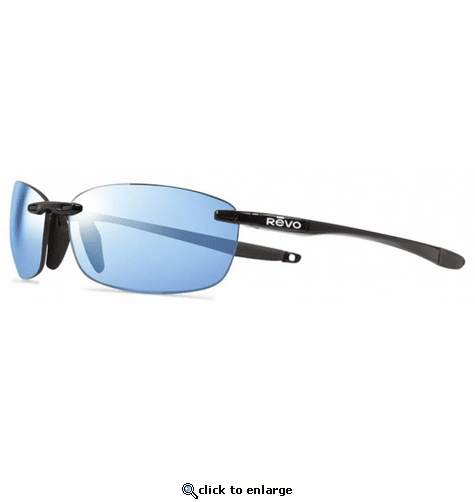 Revo Unisex Descend E Rectangle Sunglasses Blue Water Lens with Black Frame