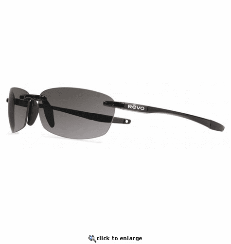 Revo Unisex Descend E Rectangle Sunglasses Graphite Lens with Black Frame