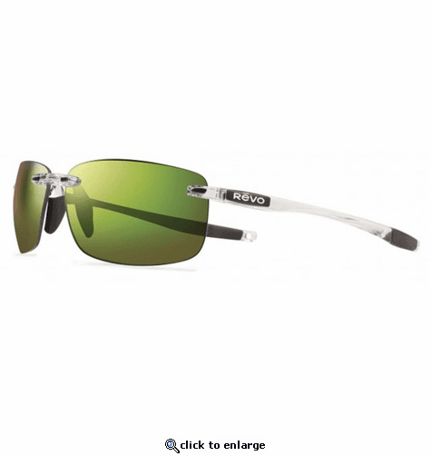 Revo Unisex Descend N Rectangle Sunglasses Green Water Lens with Crystal Frame