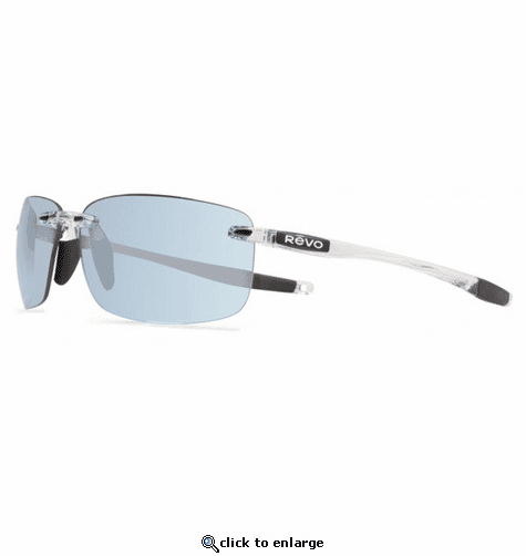 Revo Unisex Descend XL Rectangle Sunglasses Blue Water Lens with Crystal Frame