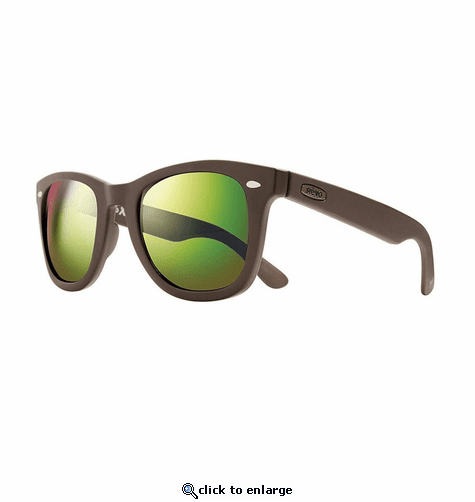 Revo Unisex Forge Wayfarer Sunglasses Green Water Lens with Matte Brown Frame